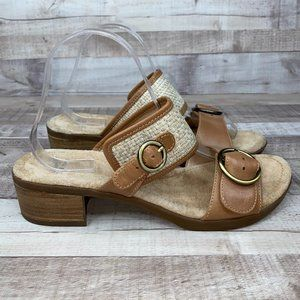 Dansko Raffia Lenny Leather Clog Sandals Size 41